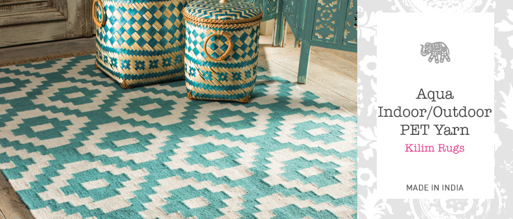 Aqua Indoor Outdoor PET Yarn Kilim Rug Home Furnishings Namaste Fai