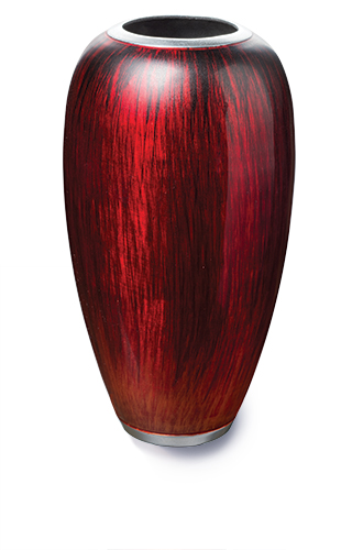 Recycled Aluminium Vase With Red Enamel Vases Pots Planters