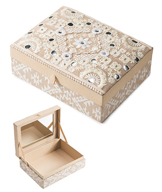 Large chambray embroidered jewellery box Jewellery Boxes Bags