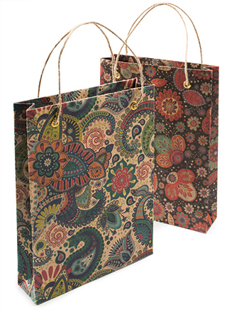 Flower Paisley Recycled Paper Gift Bag