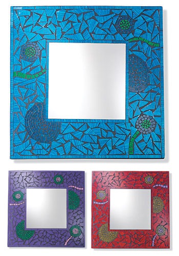 Flower Design Mosaic Square Wall Mirror Gt Wall Mirrors