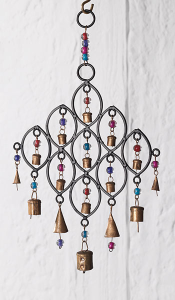 Recycled Iron Windchime With Bells And Beads Gt Windchimes
