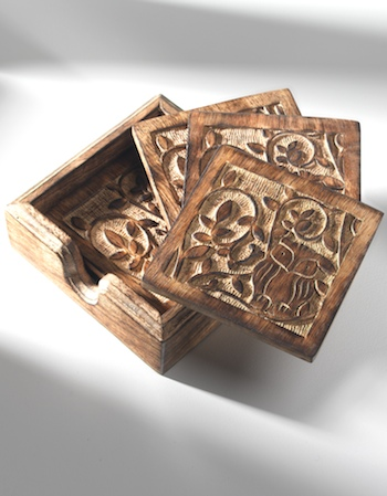 Mango Wood Owl Tree Of Life Set Of 4 Coasters Gt Wooden