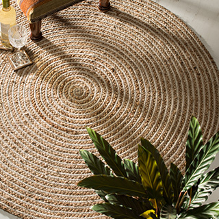 Extra Large Round Natural Braided Rug Jute Amp Cotton 120cm