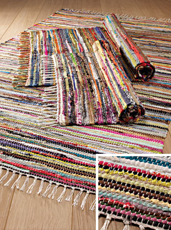 Multi Colour Recycled Cotton Rag Rug 75 X 120cm