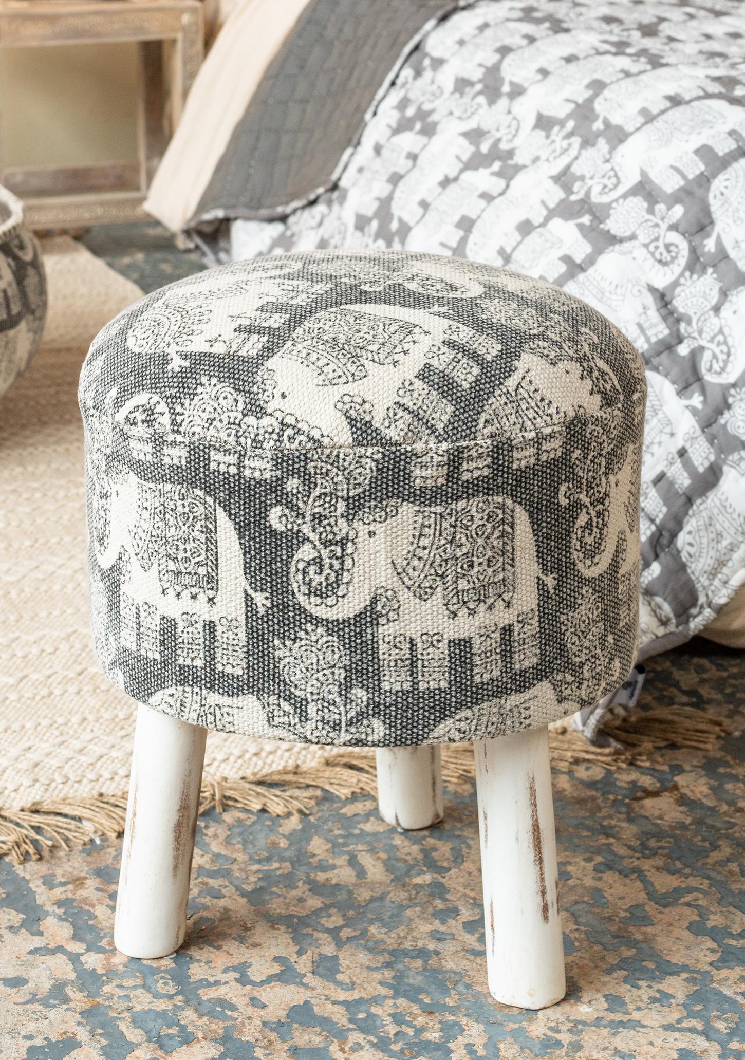 Cotton Durry Elephant Print Stool White Legs Gt Footstools