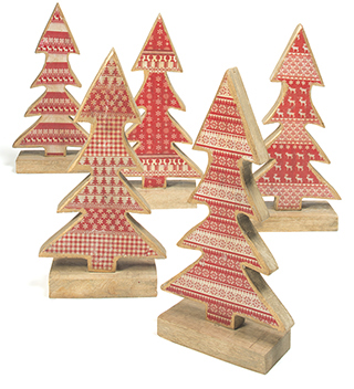 Standing Wooden Christmas Tree Red White Christmas Decorations