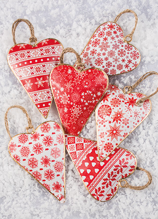 Red & White Printed Tin Heart Decoration