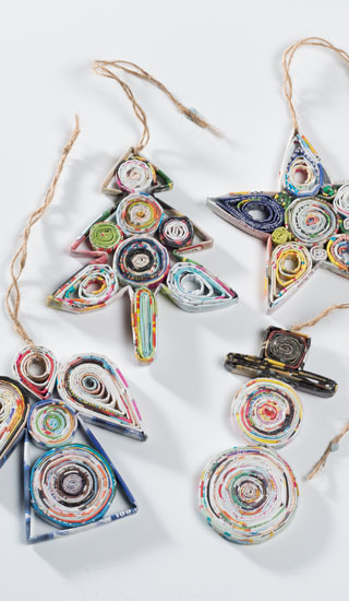 Recycled paper hanging christmas decorations recycled - Diy recycled paper crafts ...