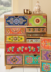 10 Drawer Hand Painted Cabinet