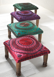 Jaipur mirror work Indian footstool