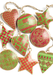Mini Tin Bauble, Star & Heart Decorations