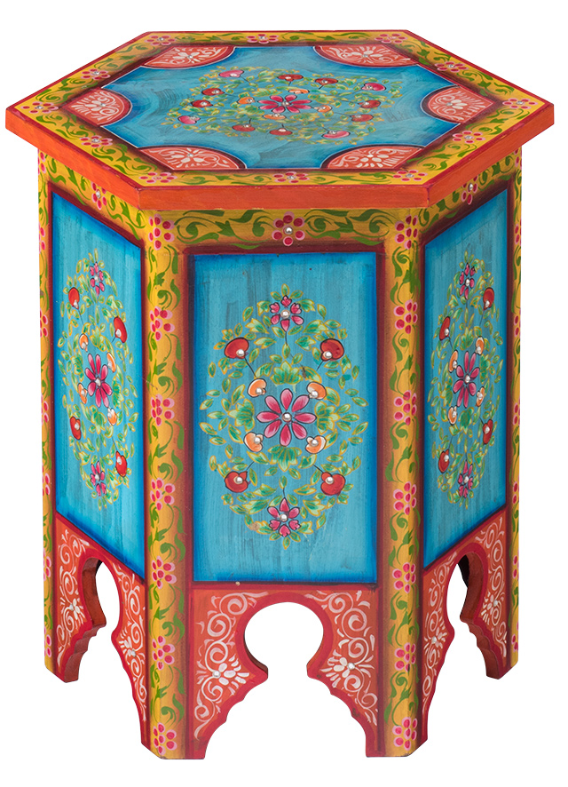 Indian Hand Painted Hexagonal Coffee Lamp Table Gt Furniture Gt Namaste Fair Trade
