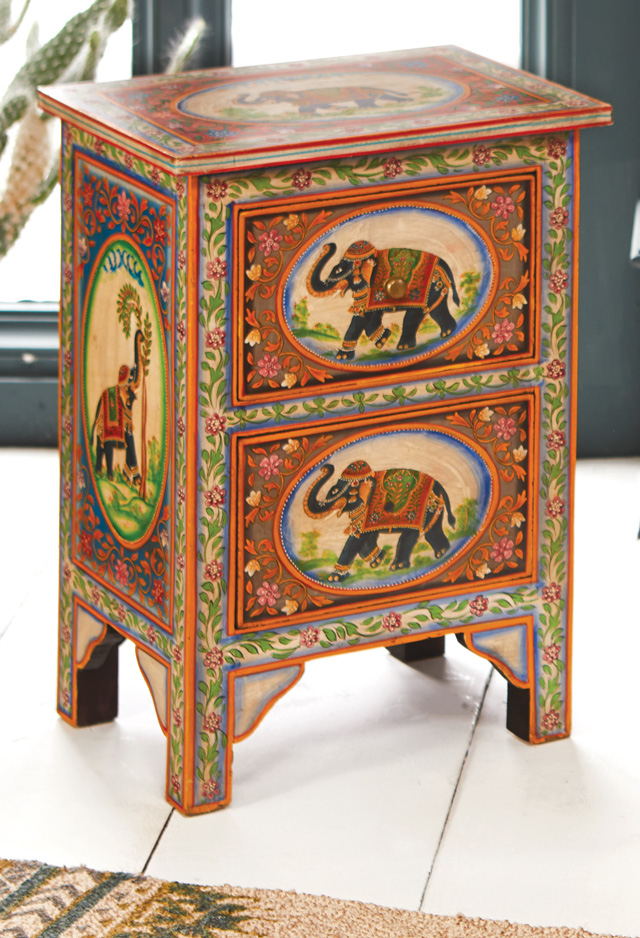 Hand Painted Elephant 2 Drawer Cabinet > Chests of Drawers ...