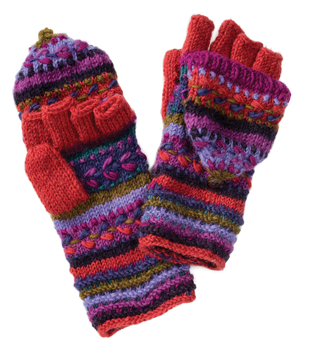 Pair of Fancy Stitch Hunter Gloves > Hand Knit Woollen