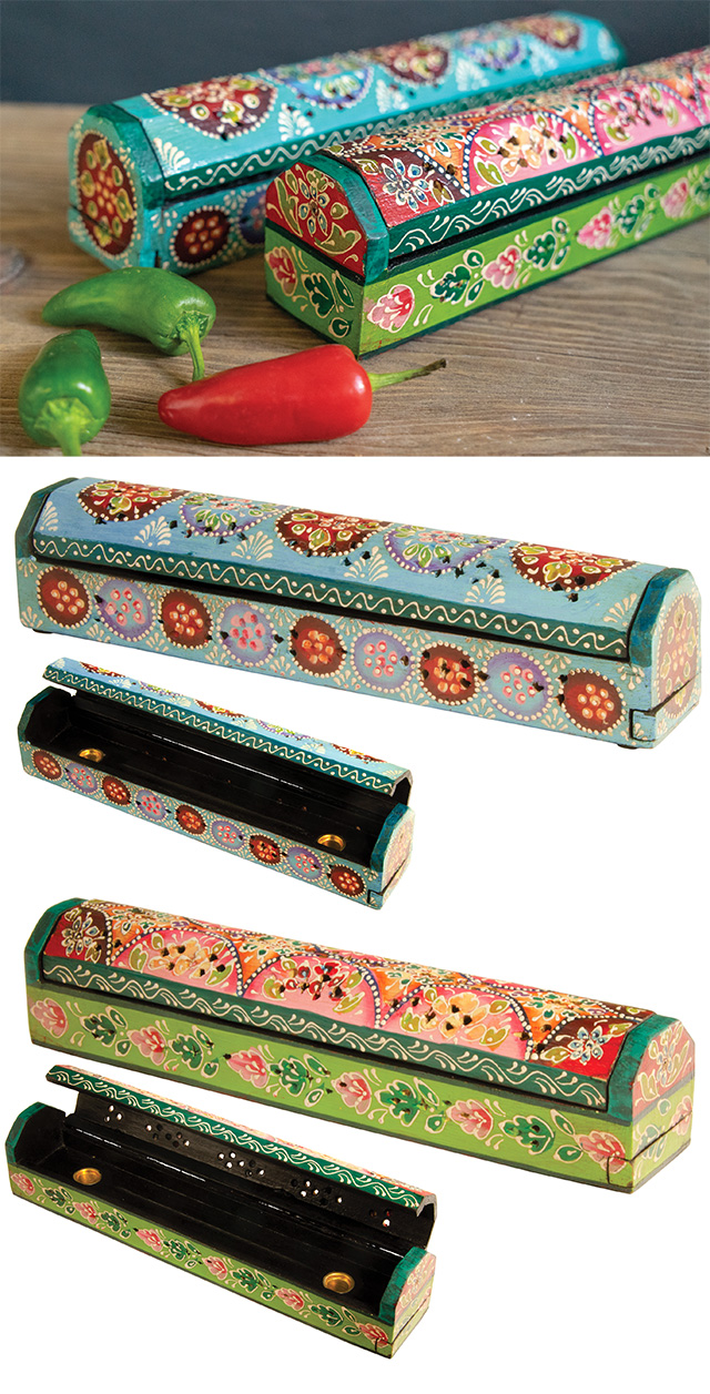 Hand Painted Wooden Incense Box Incense Holders And Burners Incense Namaste Fair Trade Namaste Uk Ltd