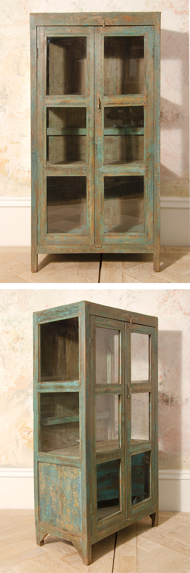 Antique painted almirah indian glass cabinet > Display ...