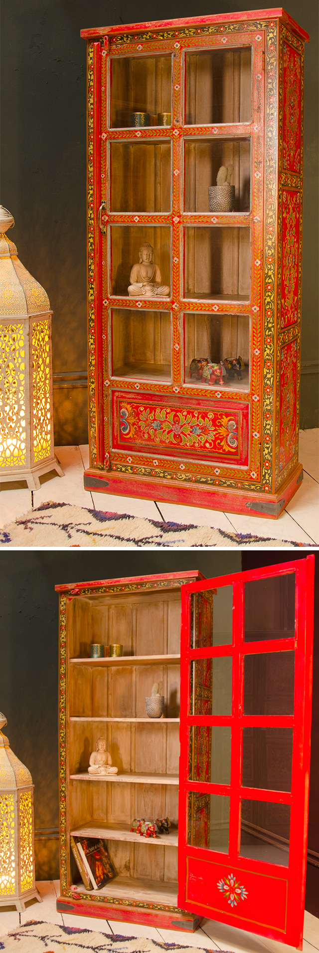 Hand painted vintage effect indian glass cabinet > Vintage ...