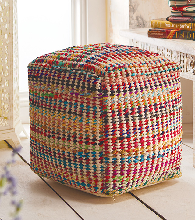 Multi Recycled Fabric Amp Cotton Pouffe Gt Footstools