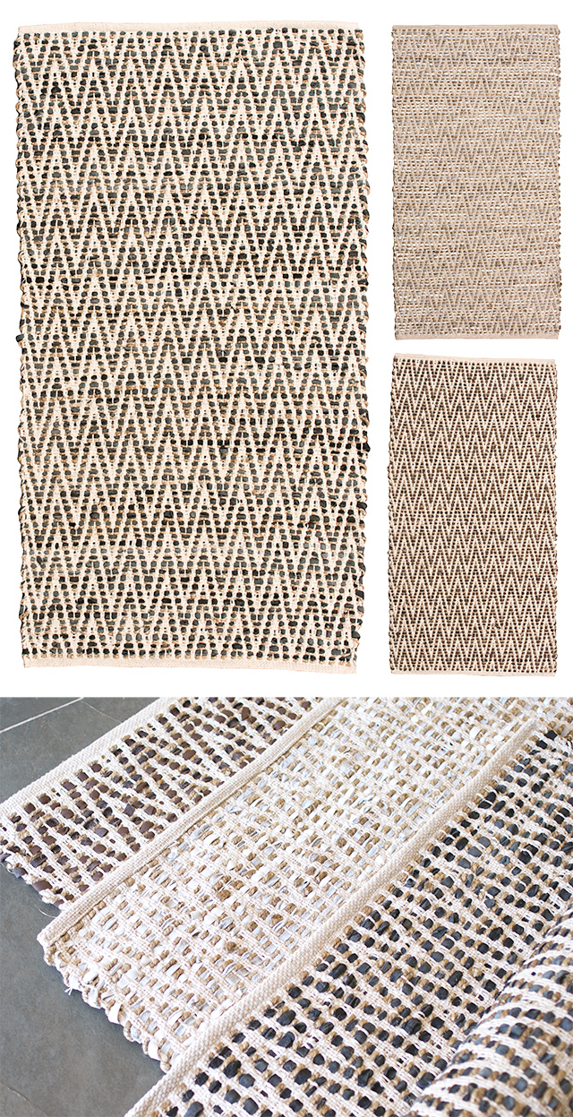 Zig Zag Recycled Cotton Leather Amp Jute Rug 75 X 135cm