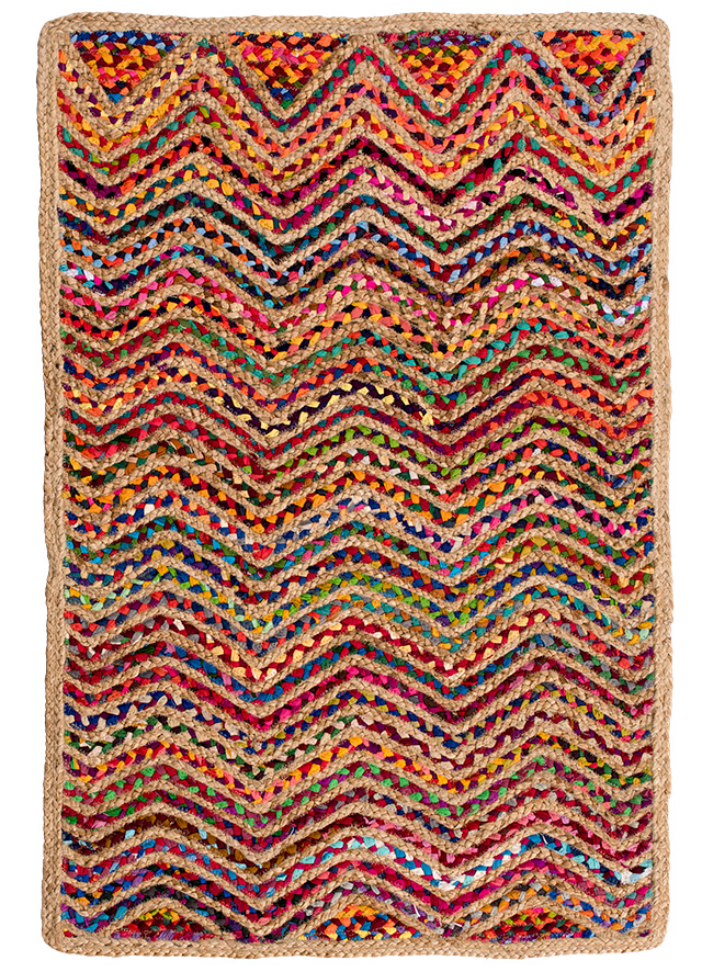 Recycled Cotton Amp Jute Braided Wave Rug 75 X 120cm Gt Jute