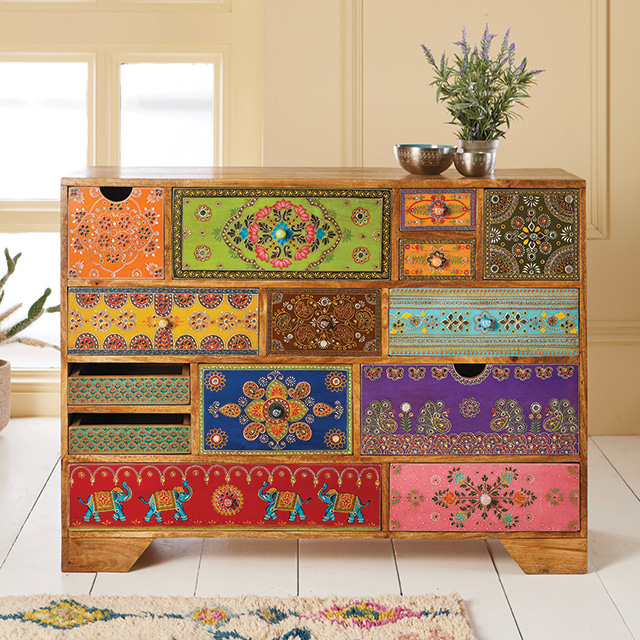Hand Painted 14 Drawer Cabinet / Chest > Sankalaka Hand ...