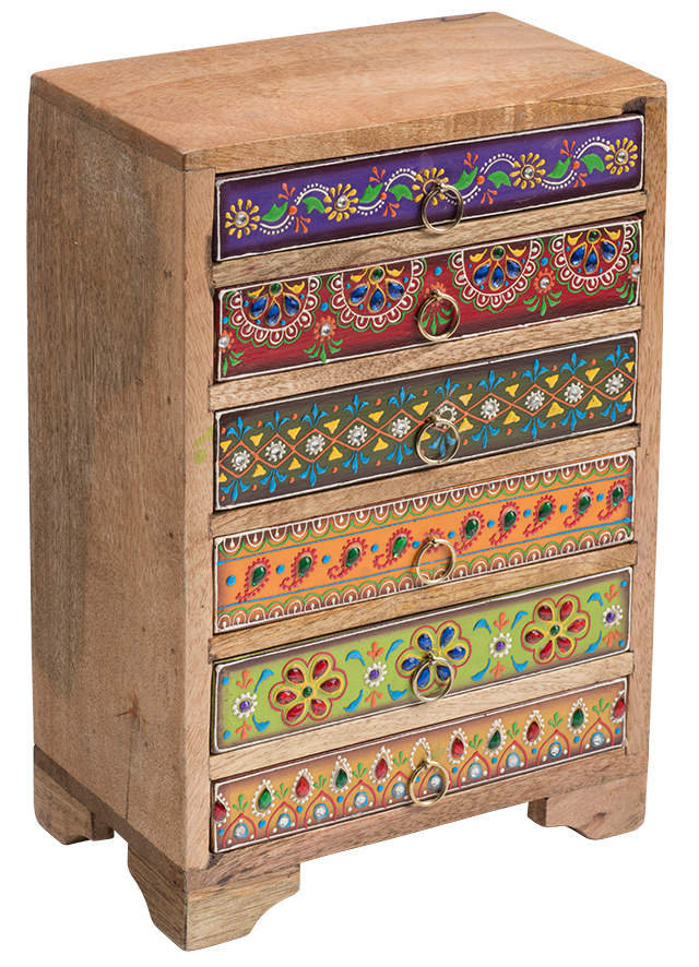 Hand Painted Indian 6 Drawer Chest