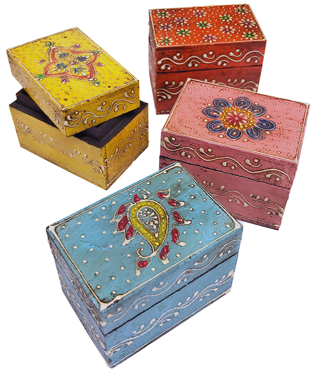 Indian Elephant Box Handmade Wooden Jewellery Trinkets Pill Boxes Henna Style