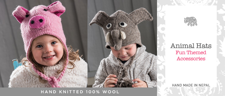 751bc7631aa Kids Animal Hats. All our knitwear is produced on a fair trade basis in  Kathmandu