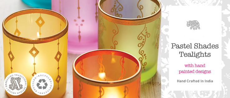 Moroccan Glass Candle Holder Hand Made Recycled Small