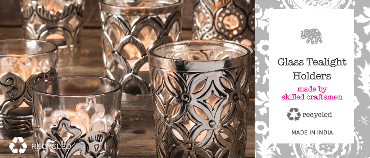 a1cbe5993e7 Glass Tealight Holders. Lovely tealights in cutwork metal using traditional  Indian patterns and illustrating wonderful craftsmanship.
